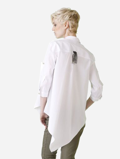 Asymmetric white blouse by ALba Moda - gefunden bei AHWH.CH
